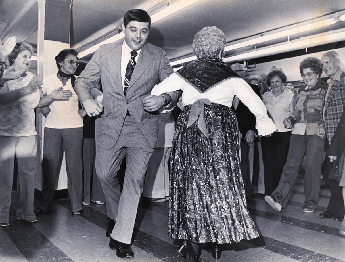 Buddy dances with a spry senior.  Providence Journal file photo/Reynold R. Paniccia.