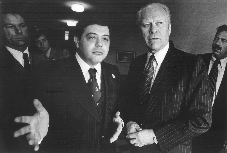 Buddy Cianci with former President Gerald Ford in 1977.  Courtesy of the Providence Journal/William K. Daby.