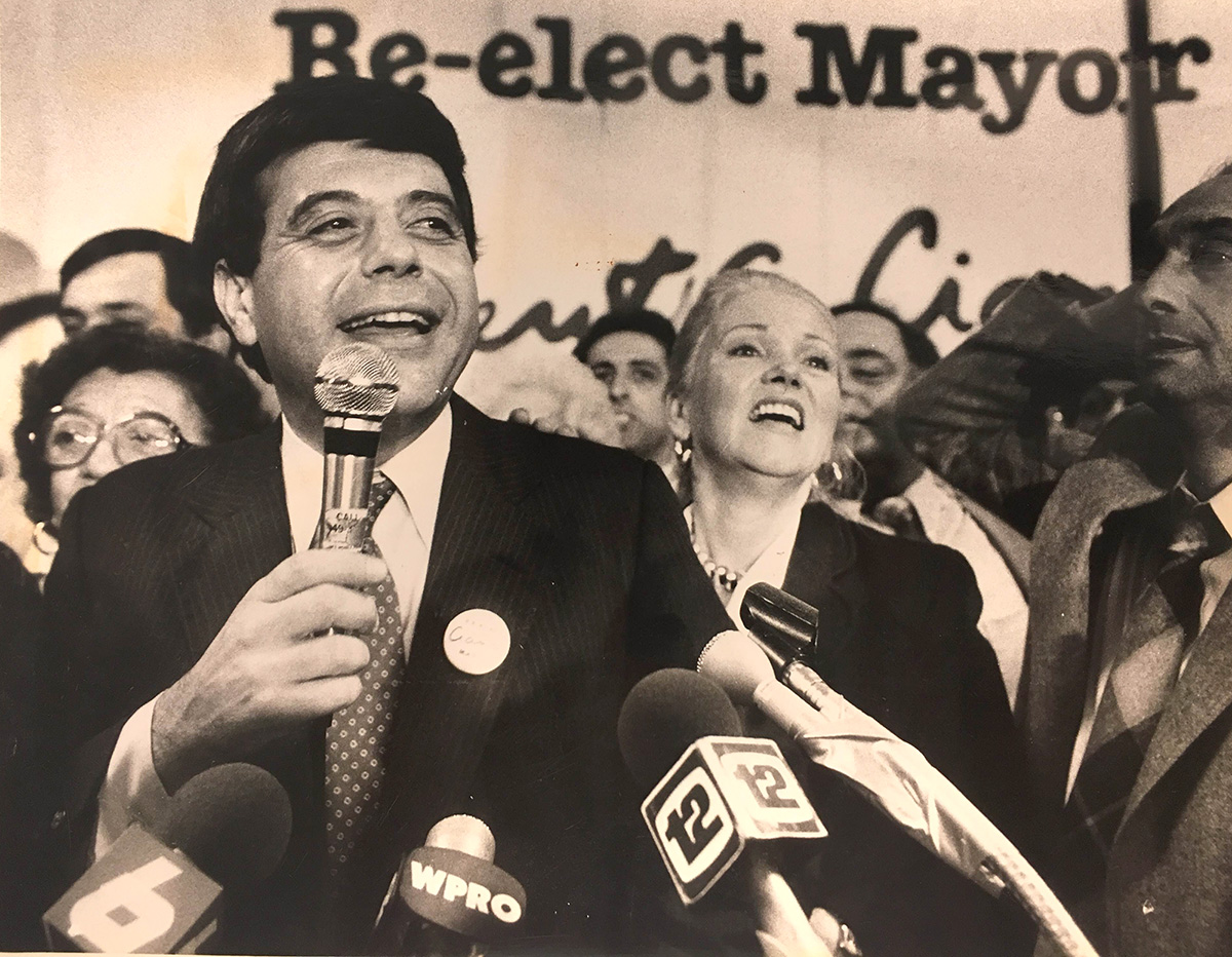 Buddy talks to supporters at the Providence Holiday Inn after winning a third term in office in 1982.  Courtesy of the Providence Journal/Michael J.B. Kelly.