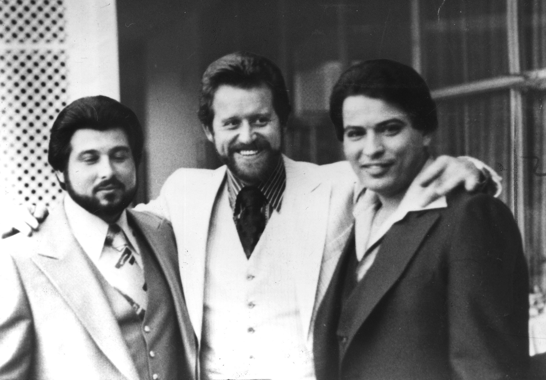Jerry Tillinghast , center, with his arm around the man he was convicted of murdering,  George Basmajian ,left. The man on the right is Matthew Guglielmetti, another member of the Patriarca crime family.  Courtesy of the Providence Journal .