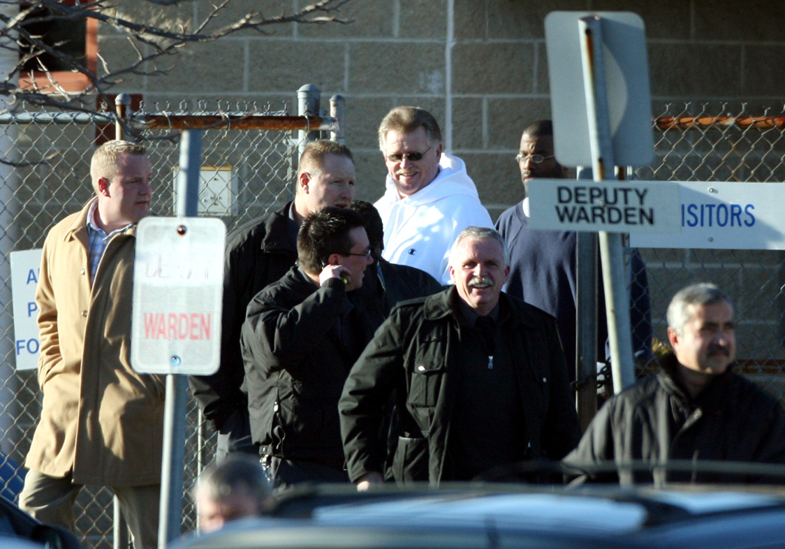 Jerry Tillinghast (center, in a white sweatshirt)was 60 years old when he was released from prison.He spent nearly 30 years behind bars. Courtesy of the Providence Journal/Bob Breidenbach.
