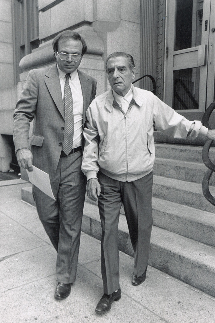 Raymond Patriarca leaves court with his defense lawyer, Jack Cicilline, in the early 1980s.  Courtesy of The Providence Journal.