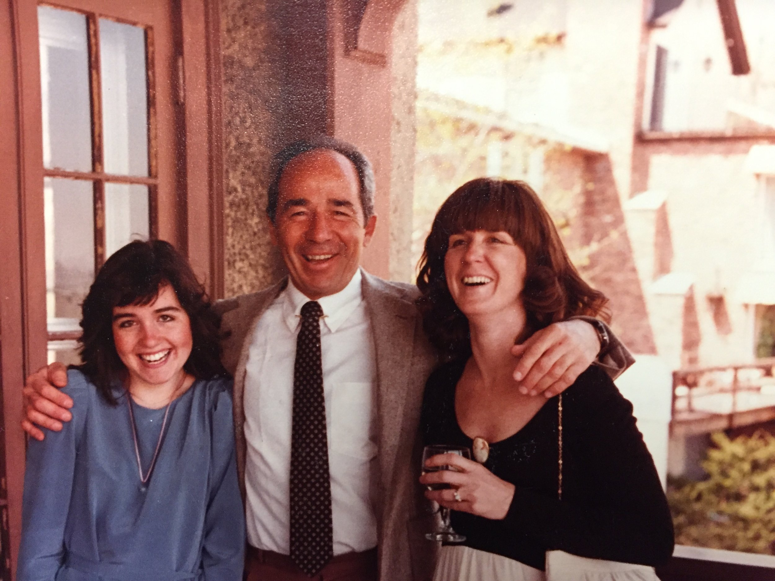 From left: Dr. Roberts's daughter Dory, Manocchio and Roberts at a wedding in 1982.  Courtesy of Dr. Barbara Roberts.