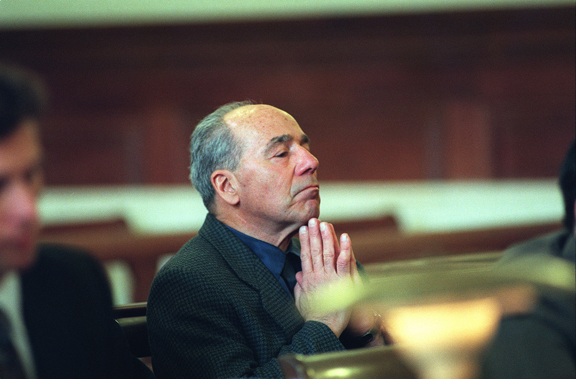 Manocchio listens to motions in Judge Joseph Rodgers's court during a pre-trial hearing in 1999, for a felony charge for receiving stolen goods in 1994.  Courtesy of The Providence Journal/Mary Murphy.