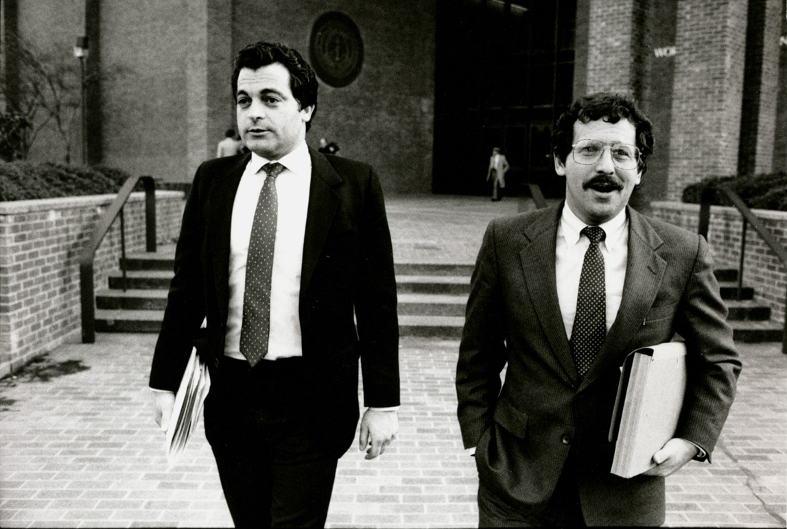 Joseph Bevilacqua Jr., left,with attorney Richard Egbert. Together, they were the defense team for Joseph Bevilacqua Sr. during the House Judiciary Committee's public inquiry. Courtesy of The Providence Journal.