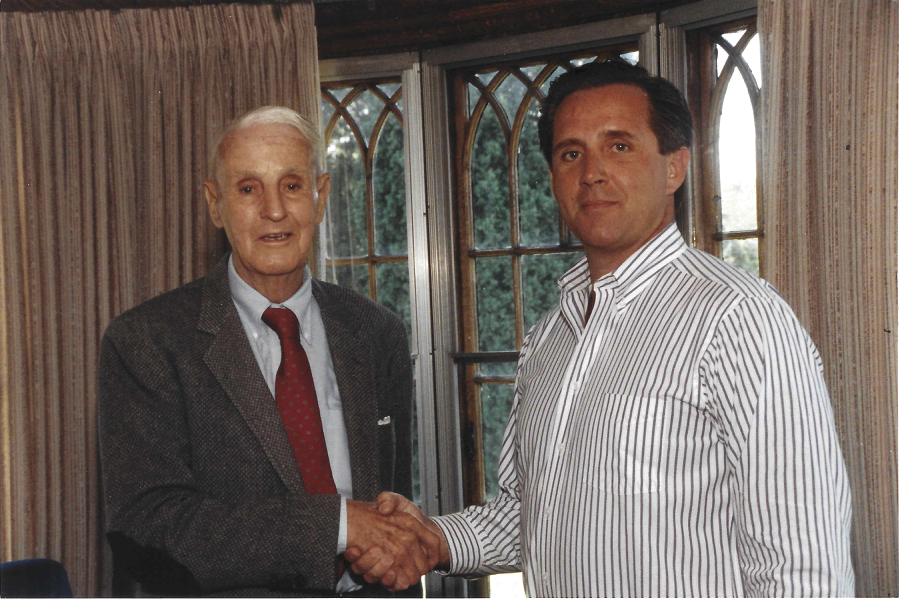 Colonel Walter Stone with Jim Mullen in 1990.Stone waged a decades-long war against organized crime in Rhode Island. Courtesy of Jim Mullen.