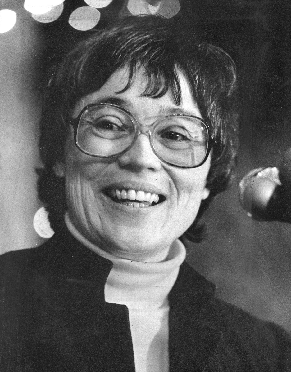 Arlene Violet announced at a rally in January 1984 that she would seek the office of Attorney General.  Courtesy of The Providence Journal/Rachel Ritchie.