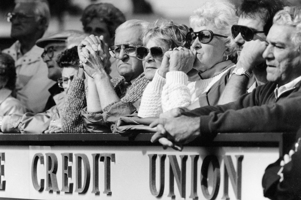 About 400 depositors from closed credit unions protest at Marquette Credit Union in Woonsocket in September 1991.  Courtesy of The Providence Journal/Frieda Squires.
