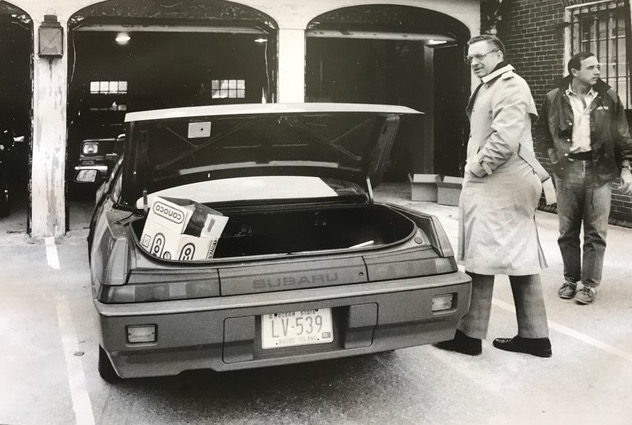 Police impounded the car George Chapdelaine used on the day of the attempted Emerald Square Mall robbery. Andrews is on the far right. Courtesy of Brian Andrews.