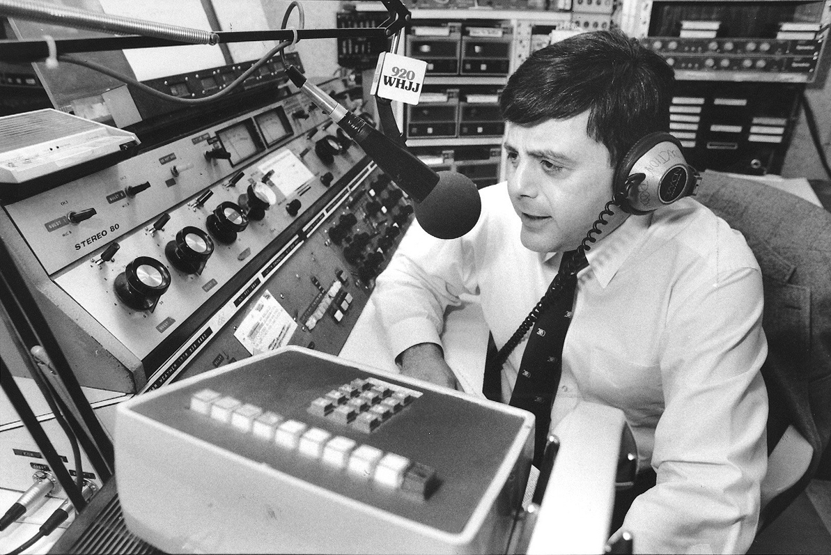 Buddy hosts his live talk-radio show from the WHJJ-AM studios. In June 1990, Buddy announced on-air that he would run again for mayor.  Courtesy of The Providence Journal.