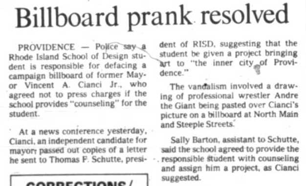 In October of 1990, Buddy Cianci announced he would not press charges against Fairey.It was a chance at image rehabilitation for Buddy, who had developed a reputation as a violent thug. Courtesy of the Providence Public Library/The Providence Journal.