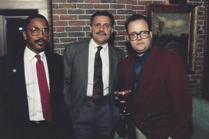Faella with two other Cianci aides, Will Fleming and Tom Rossi, at the Mayor's house. Courtesy of Mike Faella.