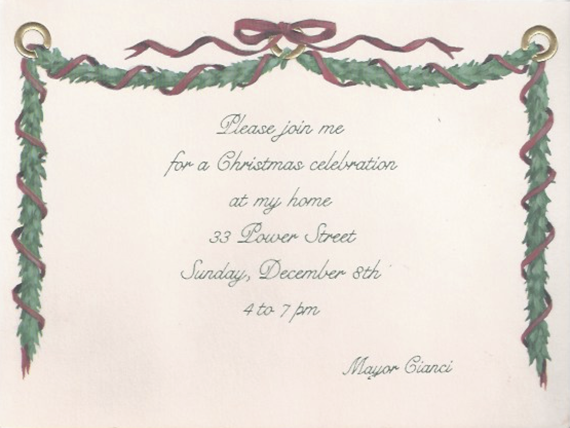 A 1991 invitation to the Mayor's house on Power Street. Courtesy of Mike Faella.