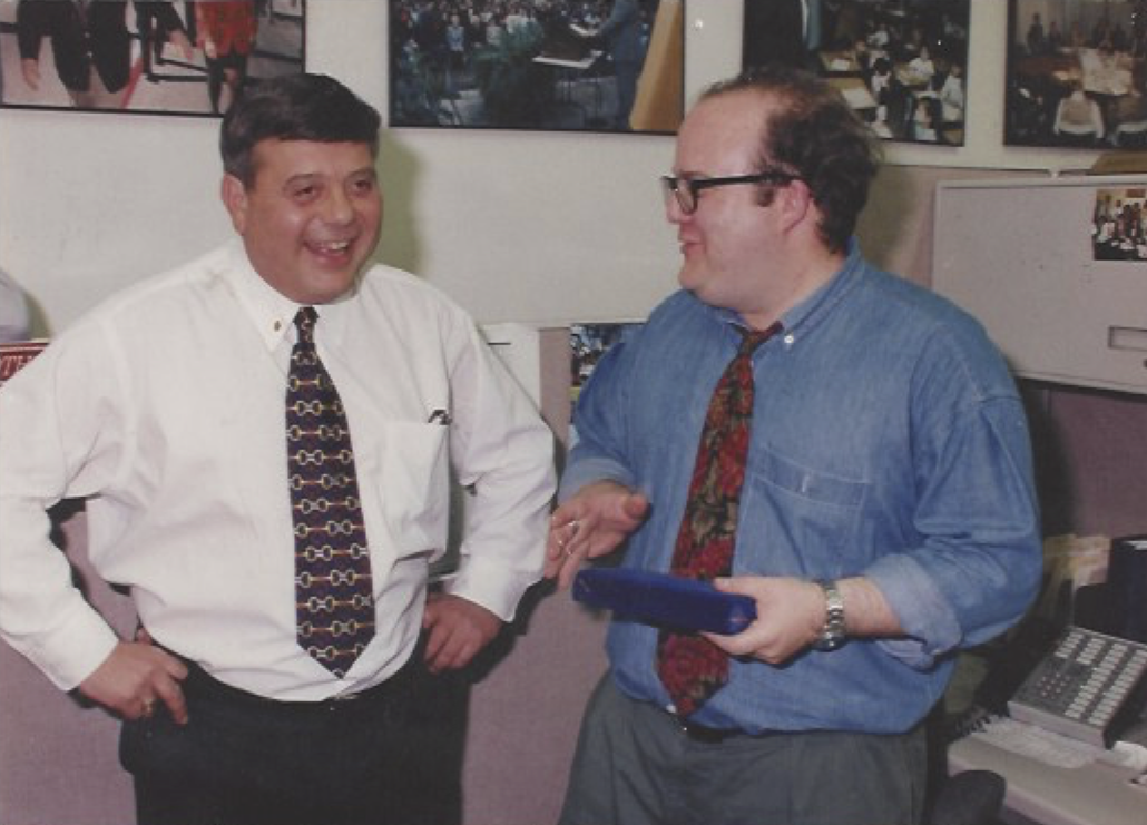 """Buddy and Faella share a laugh. """"He was filled with all the confidence and the energy and the charisma of a man who's been vindicated,"""" Faella said. Courtesy of Mike Faella."""