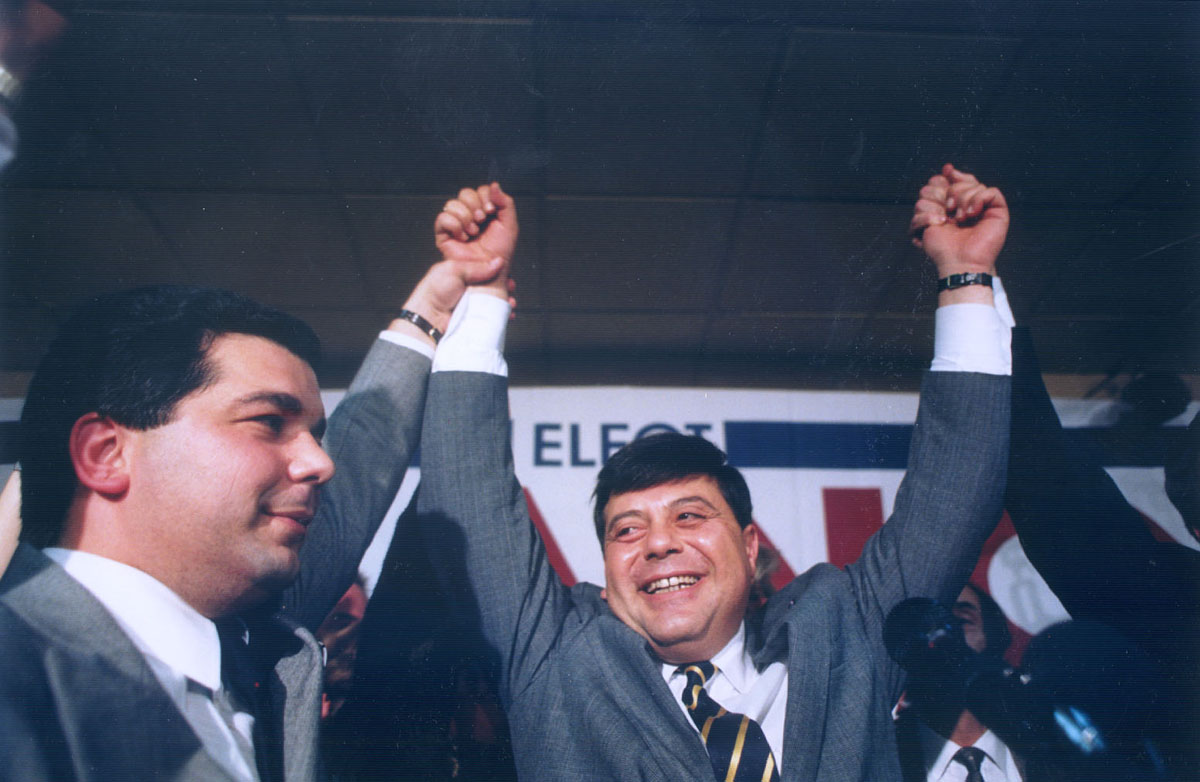 Buddy Cianci celebrates his victory following the 1990 mayoral race.  Courtesy of The Providence Journal/Bob Thayer.