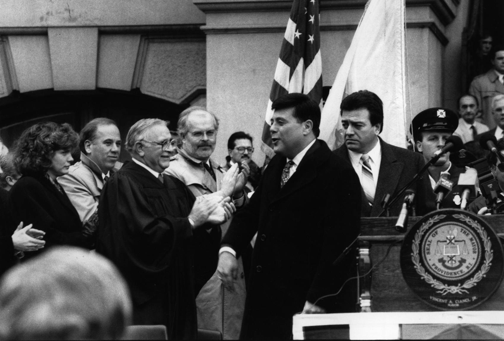 Buddy at his inauguration in 1991. Buddy won the election by just over 300 votes, his smallest margin ever. Courtesy of The Providence Journal/ James J. Molloy.