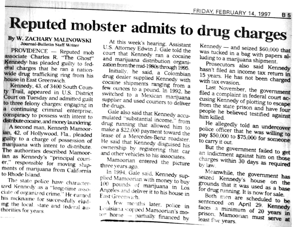 In 1997, Charles pleaded guilty to federal charges related to his cocaine operation. Authorities seized Castle Dracula because the property had been used as a base for drug running.  Courtesy of The Providence Journal.