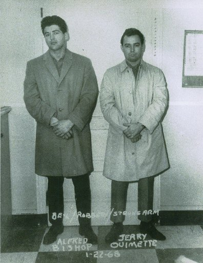 Gerard Ouimette was involved in criminal activity from a young age. In 1958, just two months after turning 18, he was sentenced to six years in prison for the armed robbery of a jewelry store in South Providence. After that prison stay,he continued to get arrested on other gun charges. Courtesy of The Providence Journal.