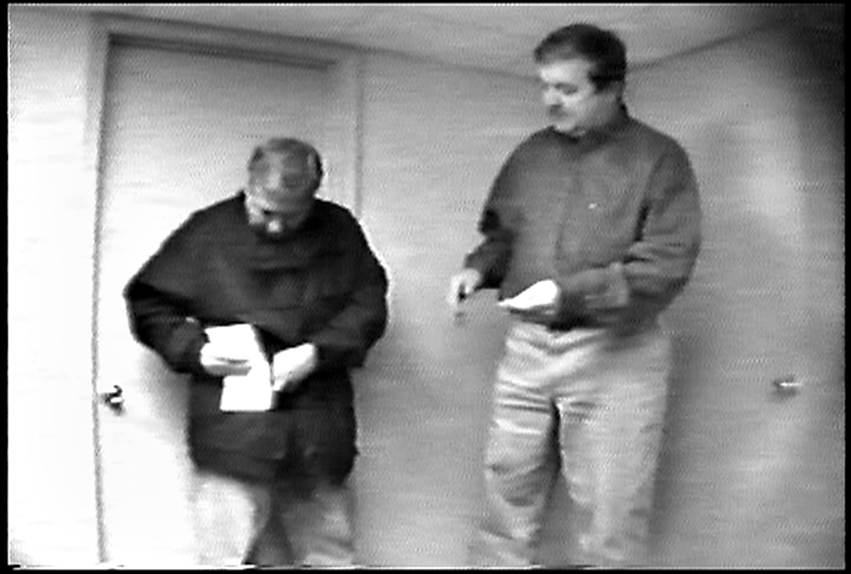 Anthony Freitas gets an envelope with $1,000 and instructions from FBI agent Dennis Aiken before heading to Frank Corrente's office in City Hall.  Courtesy of The Providence Journal.