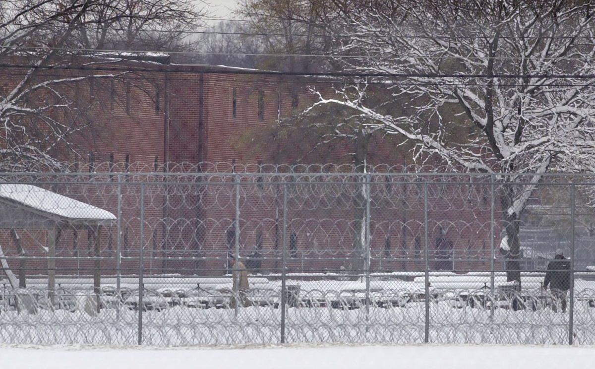 Razor wire surrounds a courtyard at Fort Dix federal prison in New Jersey. There, Buddy Cianci served a prison sentence of four years and five months.  Courtesy of The Providence Journal/Gretchen Ertl.