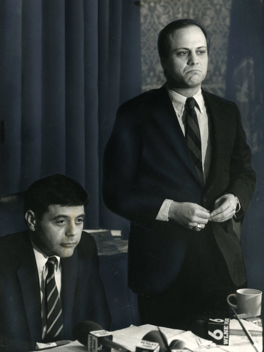 Mayor Buddy Cianci and City Council President Joseph R. Paolino Jr. at a news conference in 1984. After Buddy's 1984 resignation, Paolino succeeded him as mayor. The two were political rivals for most of their careers, but they later become friends.  Courtesy of The Providence Journal.