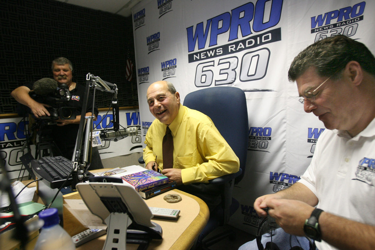 Buddy prepares for the first day of his radio show on WPRO News Radio 630. Ron St. Pierre, his co-host and producer, is on the right.  Courtesy of The Providence Journal/Steve Szydlowski.