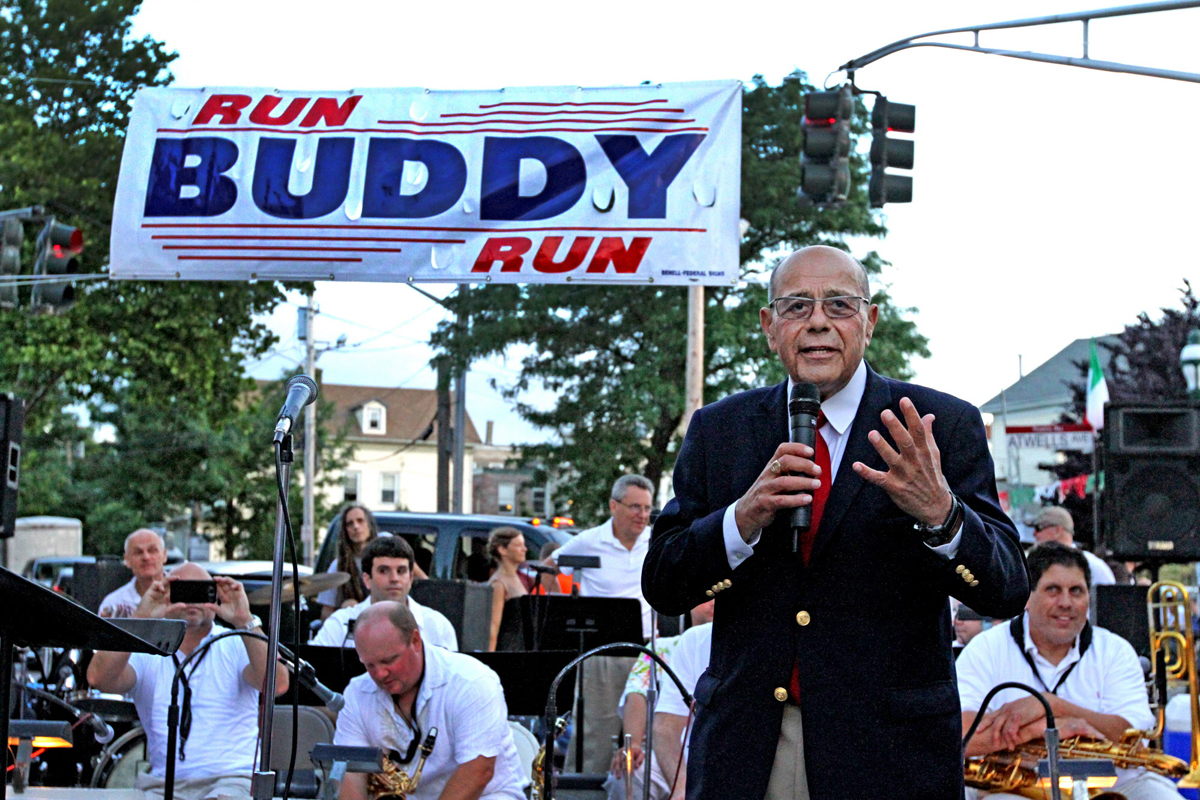 Buddy Cianci, then 73 years old, speaks to the crowd at the launch of his 2014 campaign. It was his seventh run for mayor of Providence.  Courtesy of The Providence Journal/Bob Thayer.