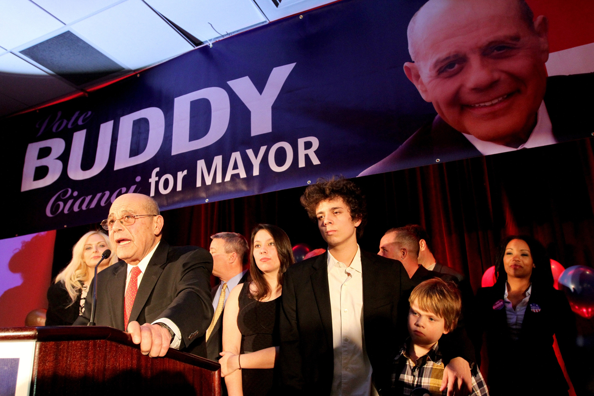 Buddy concedes to Jorge Elorza on election night in 2014. Buddy earned 45 percent of the vote, to Elorza's 52 percent. It was the only mayoral election Buddy ever lost.  Courtesy of The Providence Journal/Kathy Borchers.