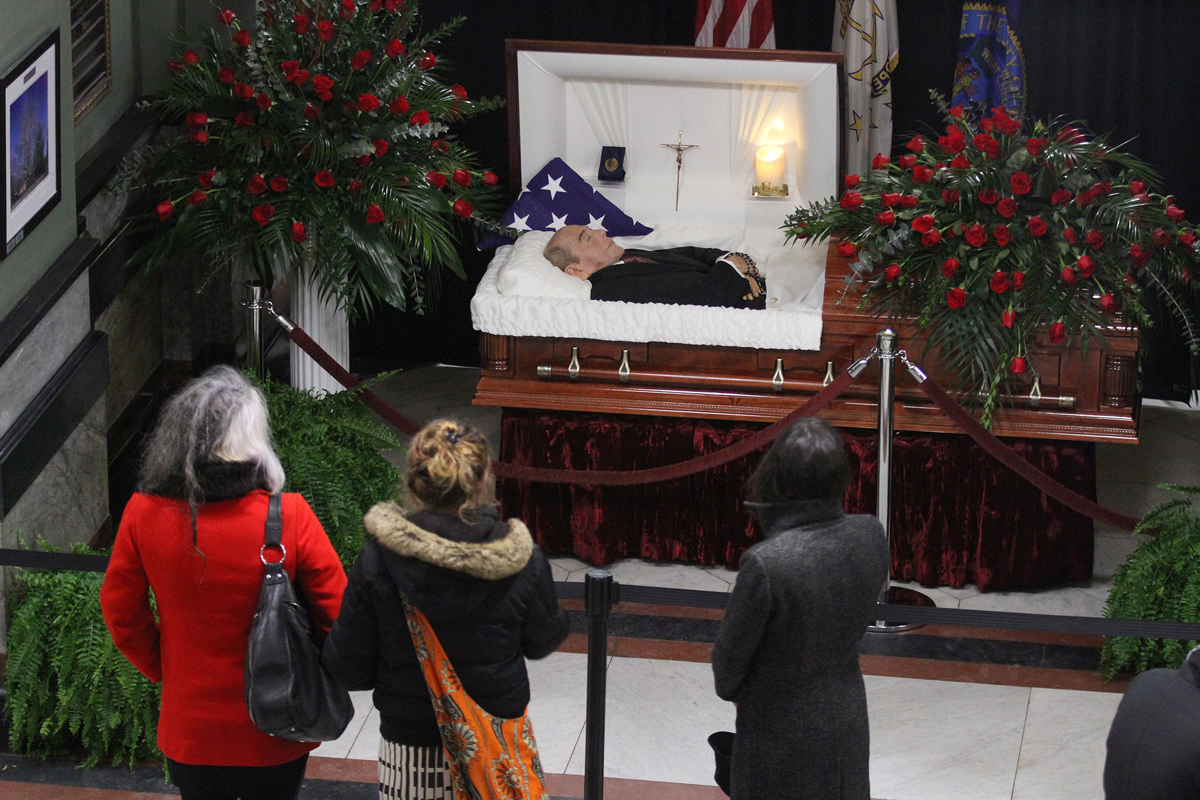 Buddy Cianci lying in state at Providence City Hall. The last mayor to have a wake at City Hall was Mayor Thomas A. Doyle in 1886.  Courtesy of The Providence Journal/Glenn Osmundson.