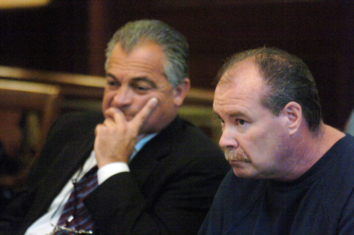 "Bevilacqua, left, in court defending alleged cocaine dealer Gerald C. Greaves in 2004. In Providence, Bevilacqua was known as a high-profile and influential defense attorney. Friends called him ""Mr. Bev.""  Courtesy of The Providence Journal."