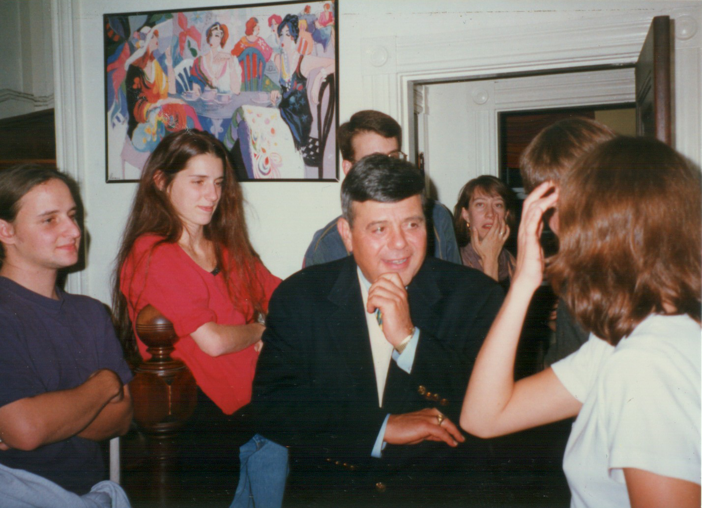 Jonathan Van Gieson, far left, first met Buddy Cianci, center, at a house party in college. The party was themed after WaterFire, a major art installation created in downtown Providence in the 1990s, and so Van Gieson's friends decided to invite the mayor.  Courtesy of Jonathan Van Gieson.