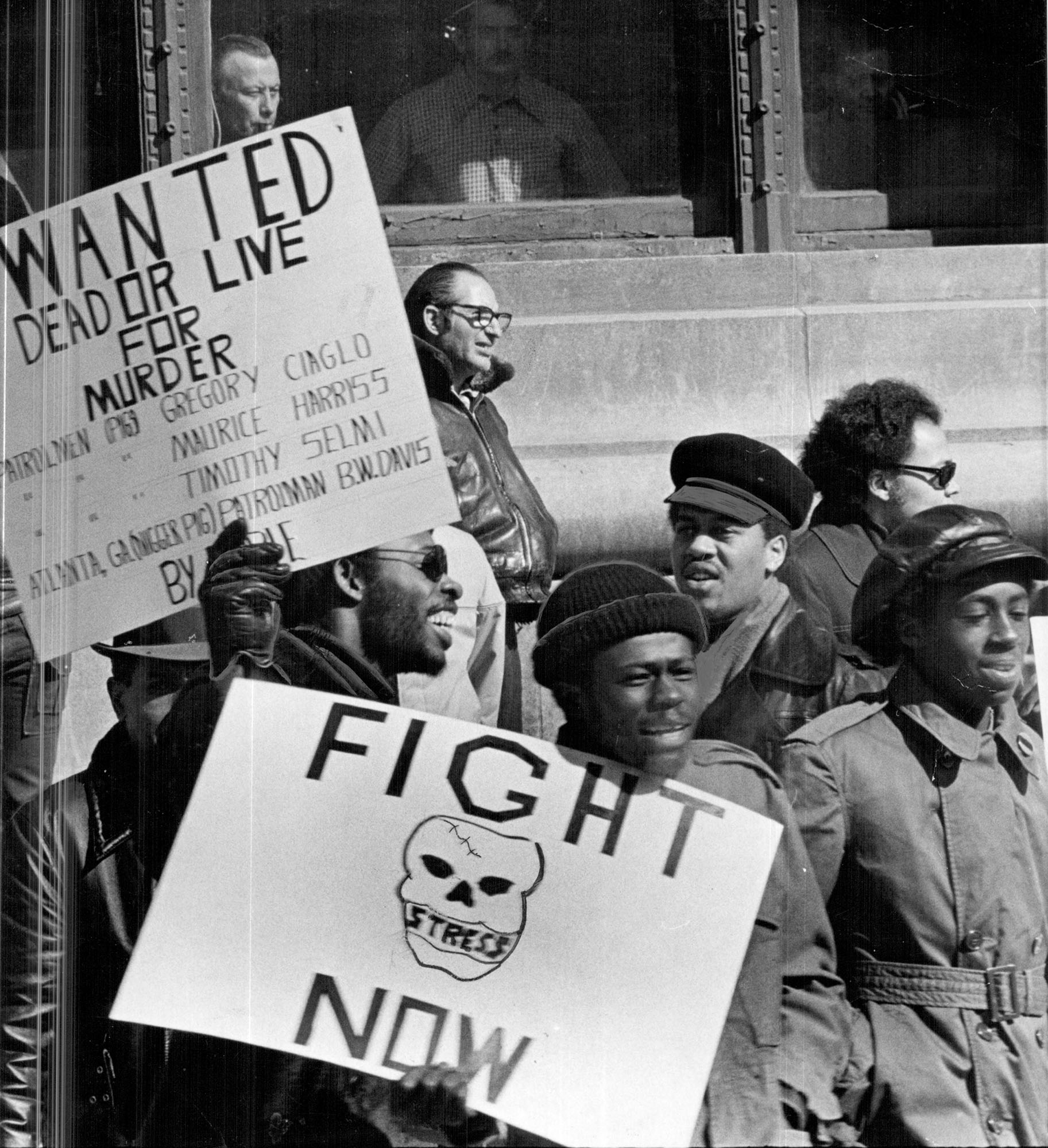 Protesters picketing Detroit Police headquarters demanding the abolition of STRESS in February 1973.  Courtesy of the Detroit Free Press.