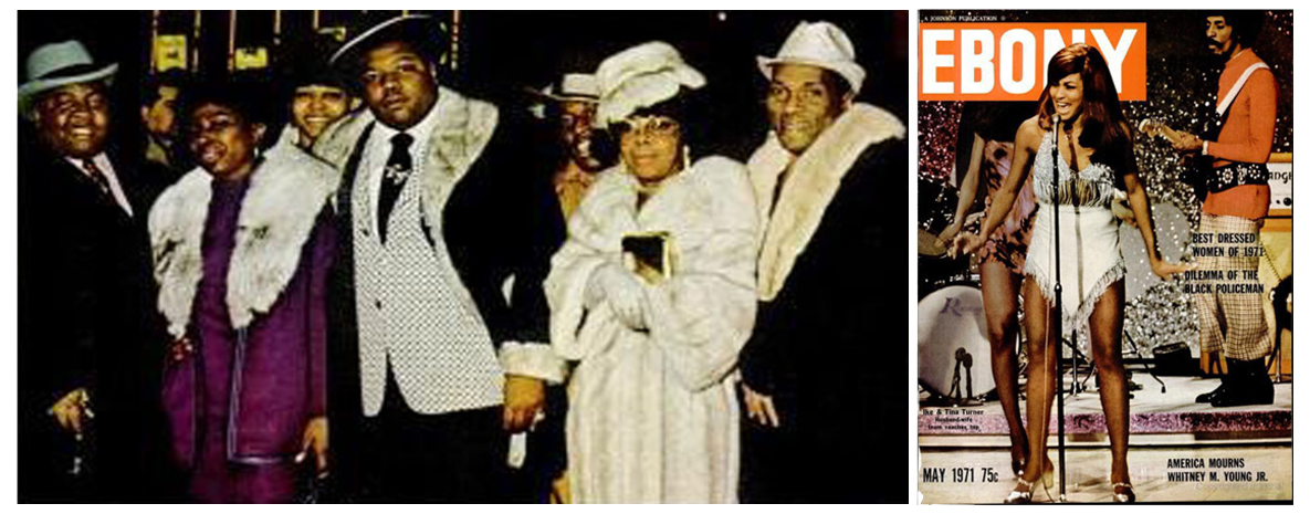 """Eddie Jackson dressed up for occasions like the """"Fight of the Century"""" in New York City, where he allegedly made a connection to the Gambino crime family. A photo of Eddie (center) was published in a 1971 issue of Ebony Magazine.  Courtesy of Courtney Brown Jr."""