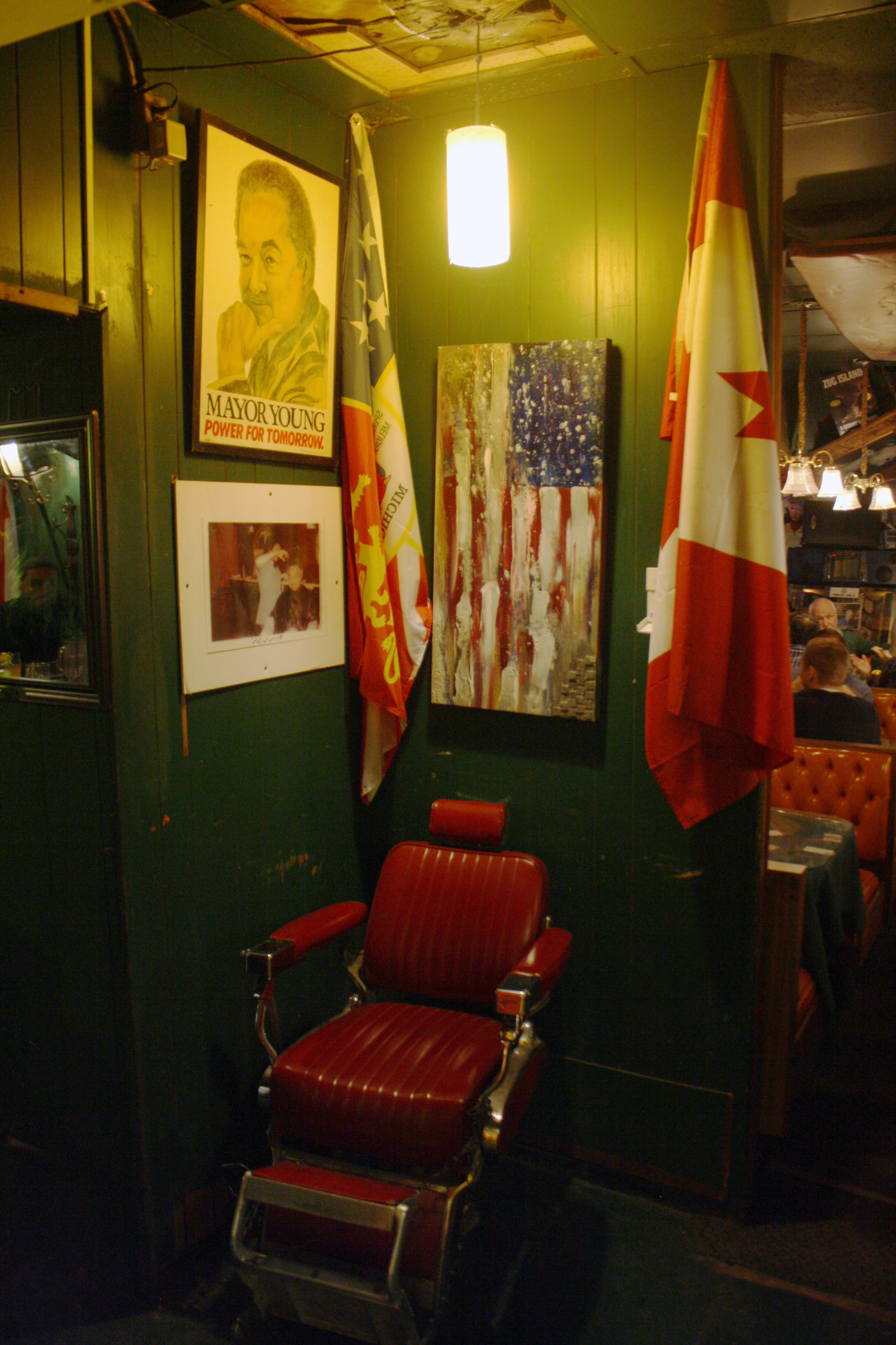 This is the chair that Coleman Young sat in when he got his hair cut at Jack's Barber Lounge. It is now on display at Cafe D'Mongo's Speakeasy, the popular downtown bar owned by Larry Mongo. Photo by Rob Szypko