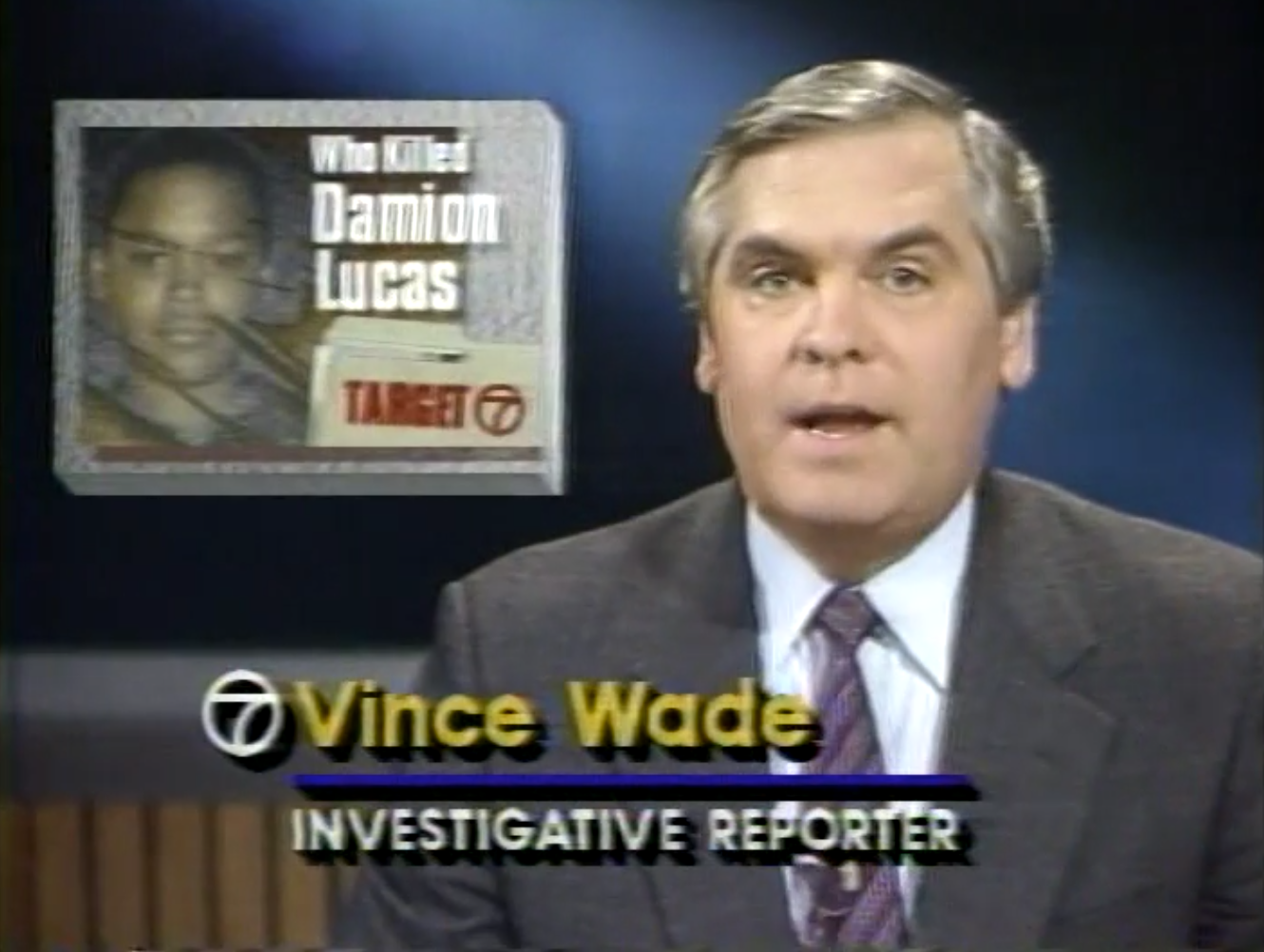 Three years after Damion Lucas was killed, the case remained unsolved. Vince Wade made a five-part TV news series about the stalled investigation and apparent coverup.  Courtesy of Vince Wade.
