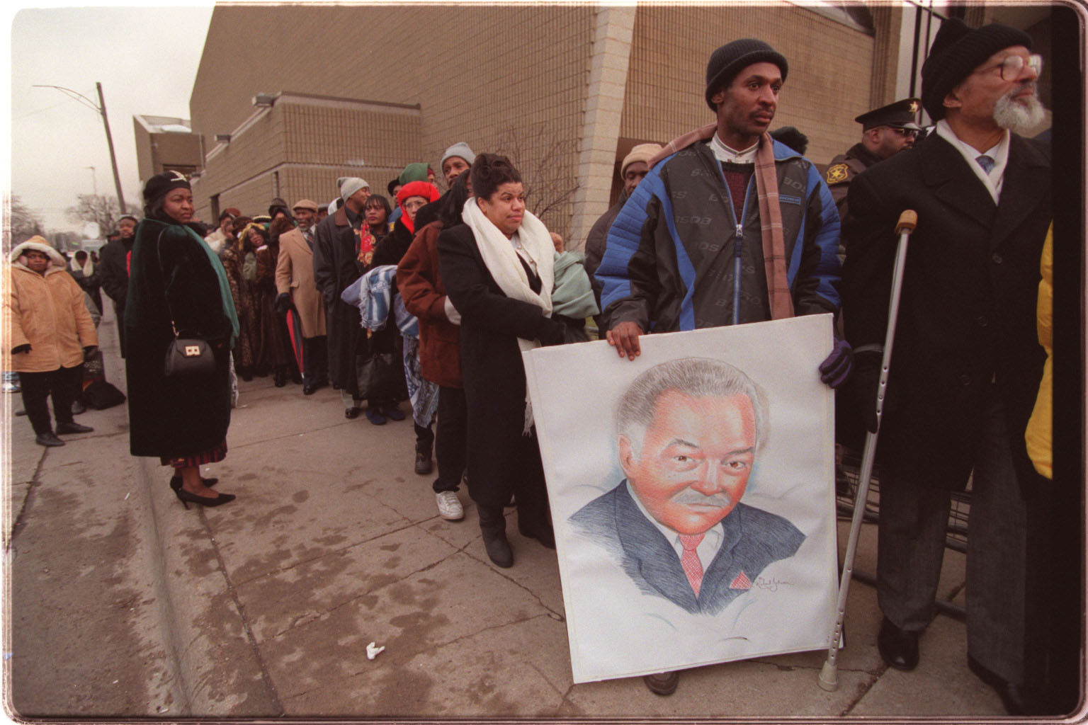 Early on Friday, December 5, 1997, people began lining up early around Greater Grace Temple to get a seat for Coleman Young's funeral. Young died of complications from emphysema at the age of 79, after wrapping up his two-decade career as mayor of Detroit several years earlier.  Courtesy of the Detroit Free Press.