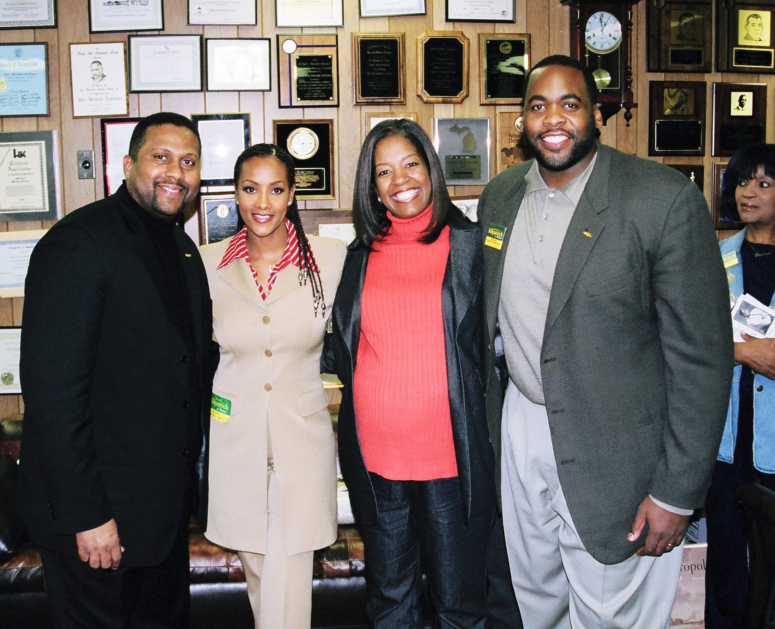 Kwame secured the endorsement of Vivica A. Fox, pictured here with Kwame and his wife, Carlita.  Courtesy of Tim and Tobias Smith.