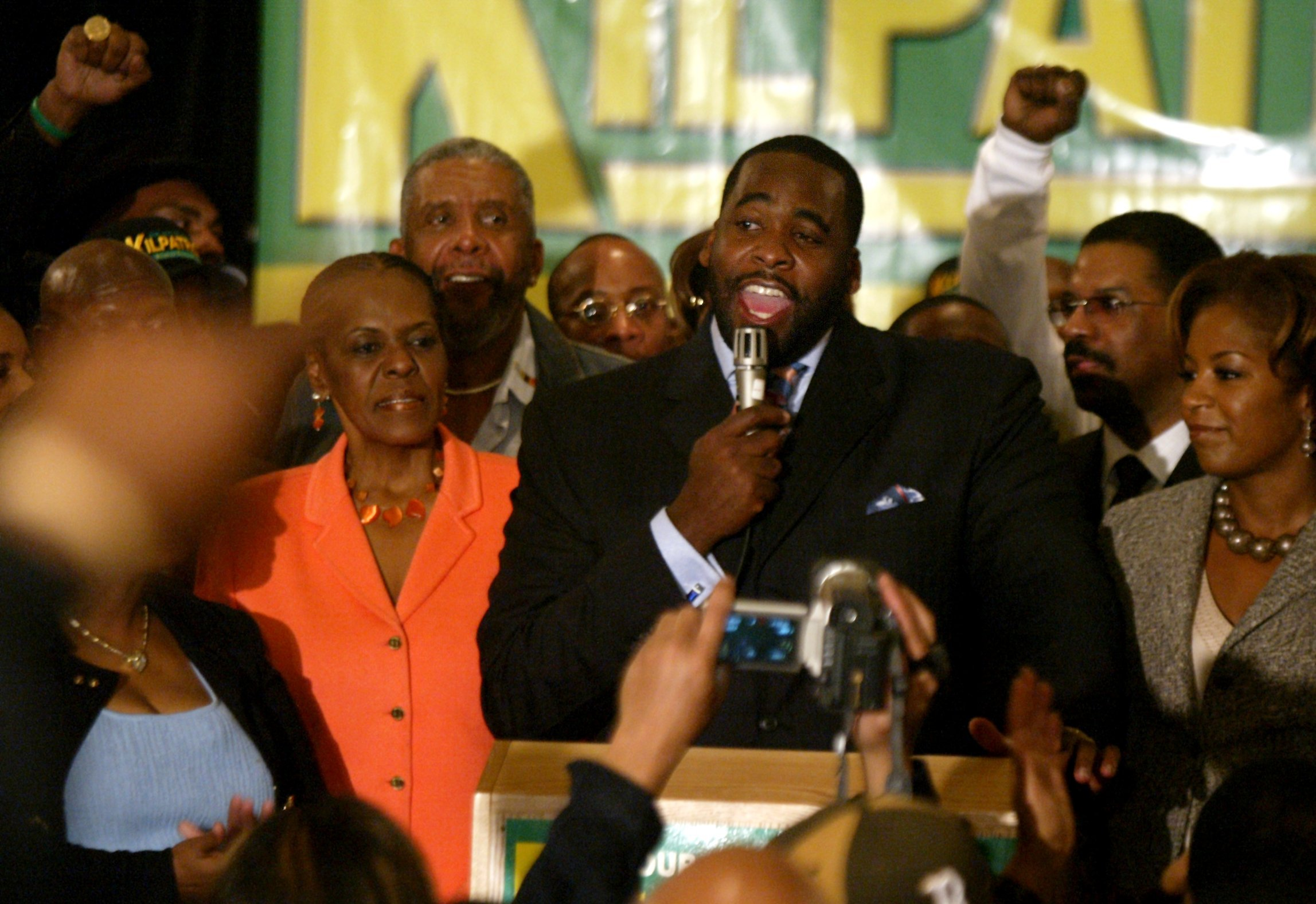 Kwame Kilpatrick gives a speech to supporters at the Detroit Marriott Renaissance Center after polling closed on election day in 2005. He came from behind to secure an upset win over challenger Freman Hendrix.  Courtesy of the Detroit Free Press.
