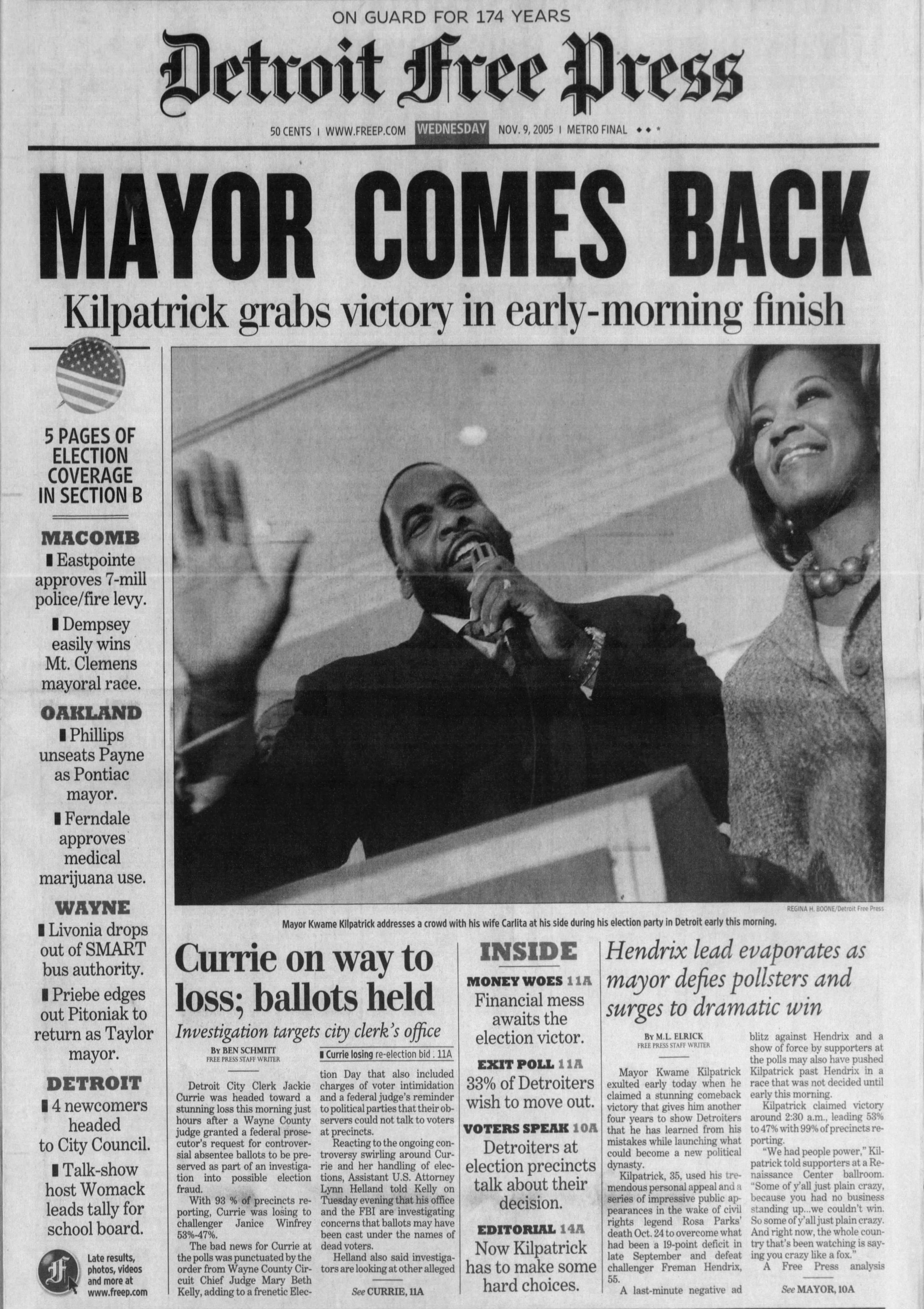 Detroit_Free_Press_Wed__Nov_9__2005_ Kwame Wins p1.jpg