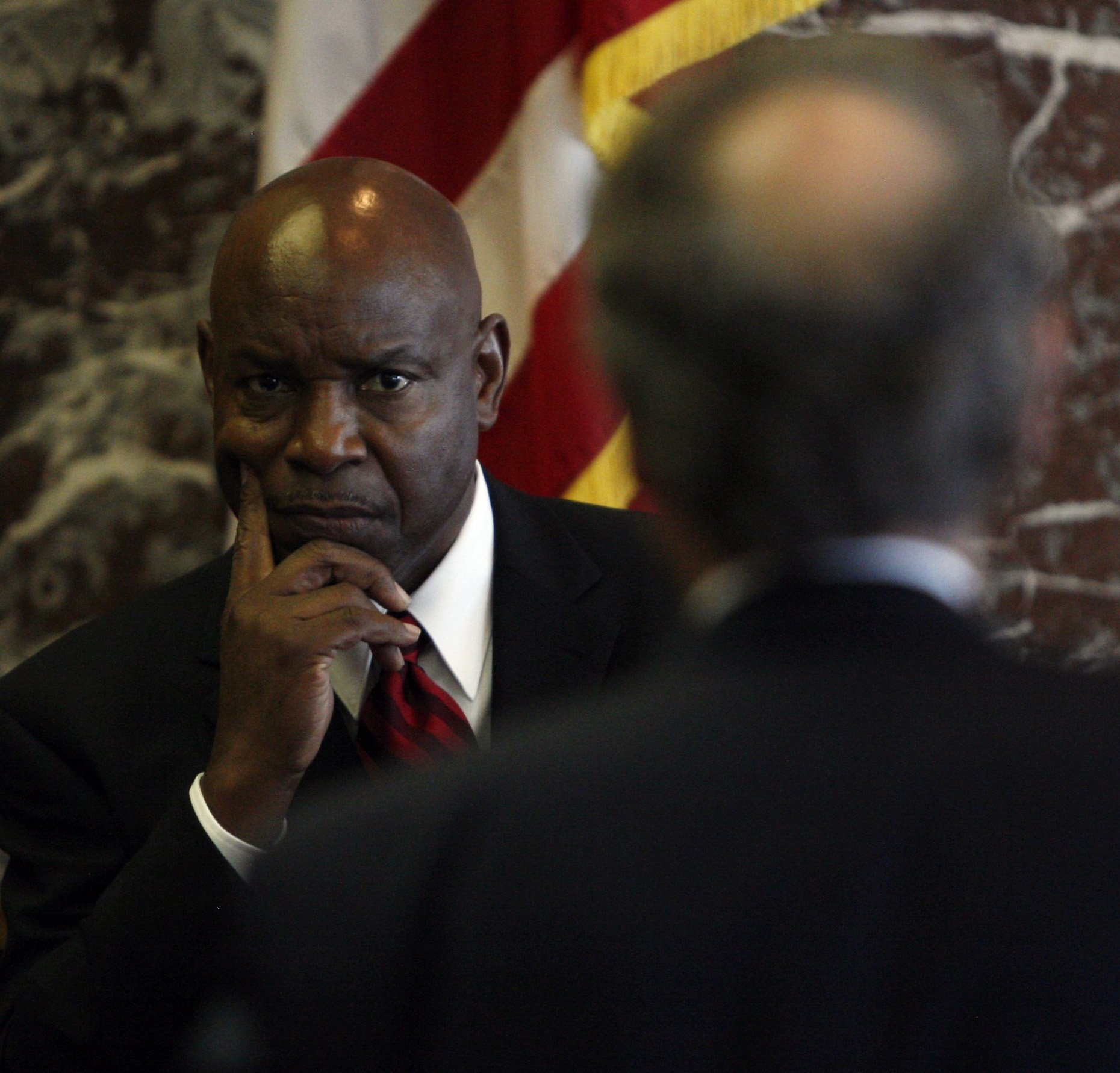 Former police chief Jerry Oliver testifies in the whistleblower case against the city and mayor. Oliver initially did not agree with the mayor's decision to remove Gary Brown as head of Internal Affairs. Oliver says that when he asked for a reason for the demotion, the mayor declined to tell him.  Courtesy of the Detroit Free Press.