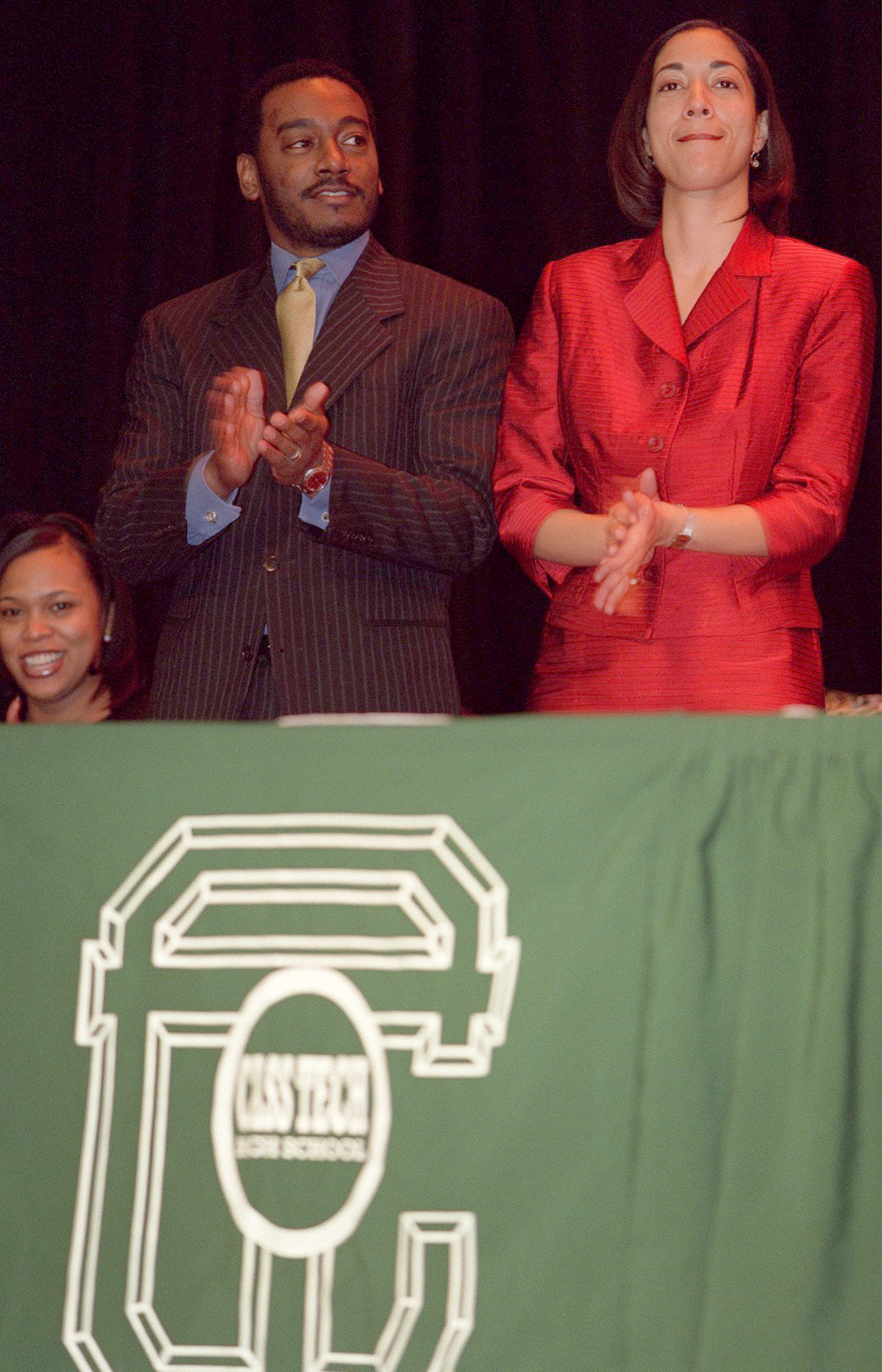 Derrick Miller and Christine Beatty at a community reception at Cass Tech during Kwame Kilpatrick's inaugural ceremonies in 2001.  Courtesy of the Detroit Free Press.