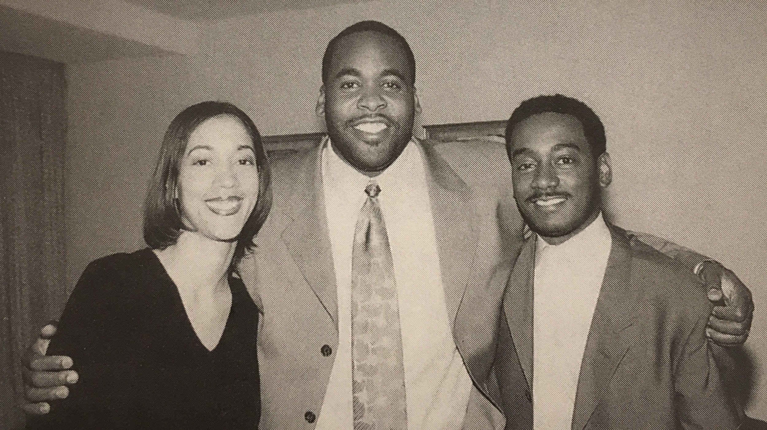 Christine (née Rowland) Beatty, Kwame Kilpatrick, and Derrick Miller were close friends when they attended Cass Tech. After Kwame was elected mayor, he appointed Christine as his chief of staff, and Derrick as his chief administrative officer.  Courtesy of Kwame Kilpatrick.