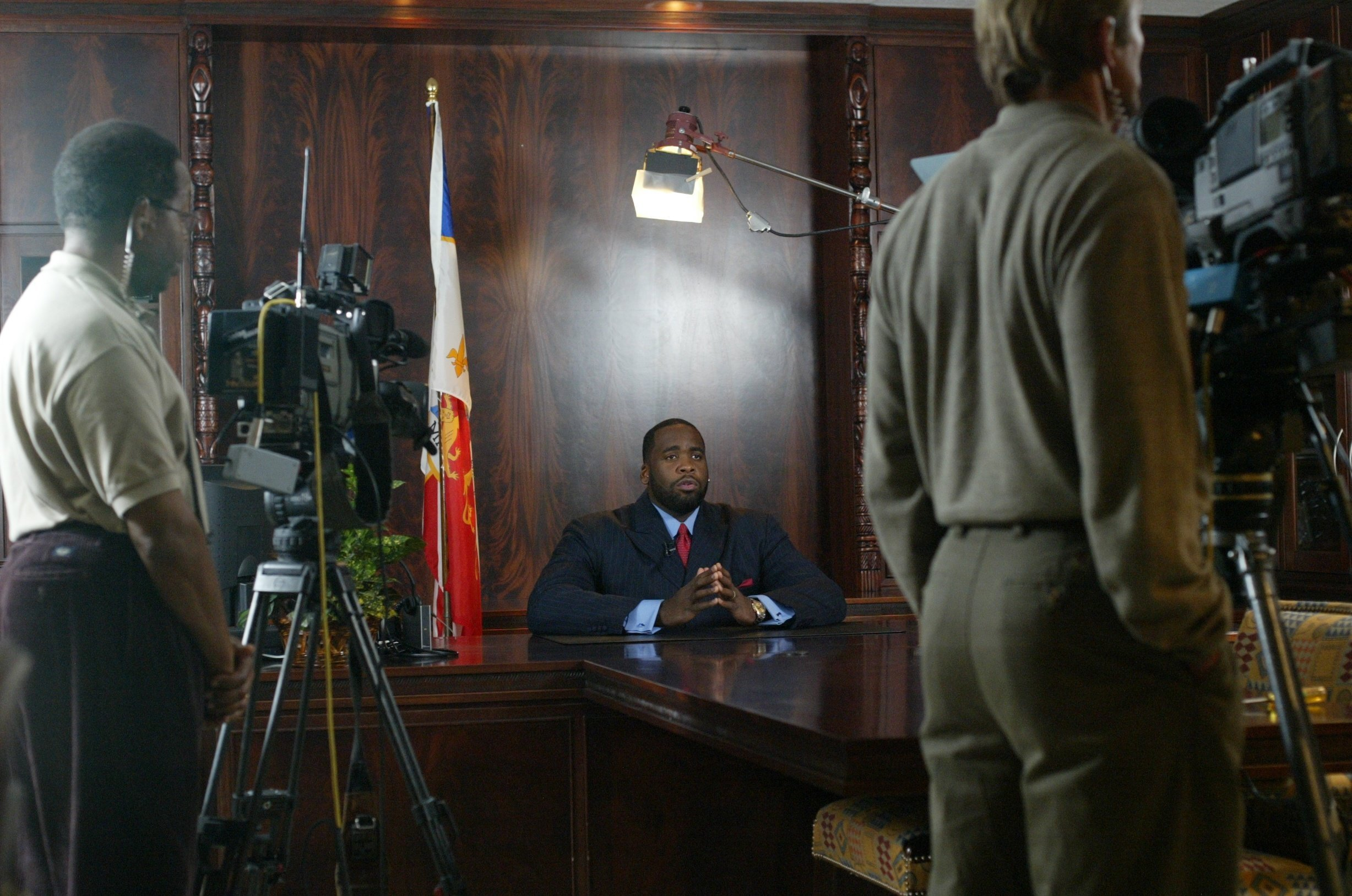 Detroit Mayor Kwame Kilpatrick delivers a televised speech in 2003. During Kwame's first term as mayor, federal investigators discovered that he was depositing large amounts of cash in his personal bank accounts.  Courtesy of the Detroit Free Press.
