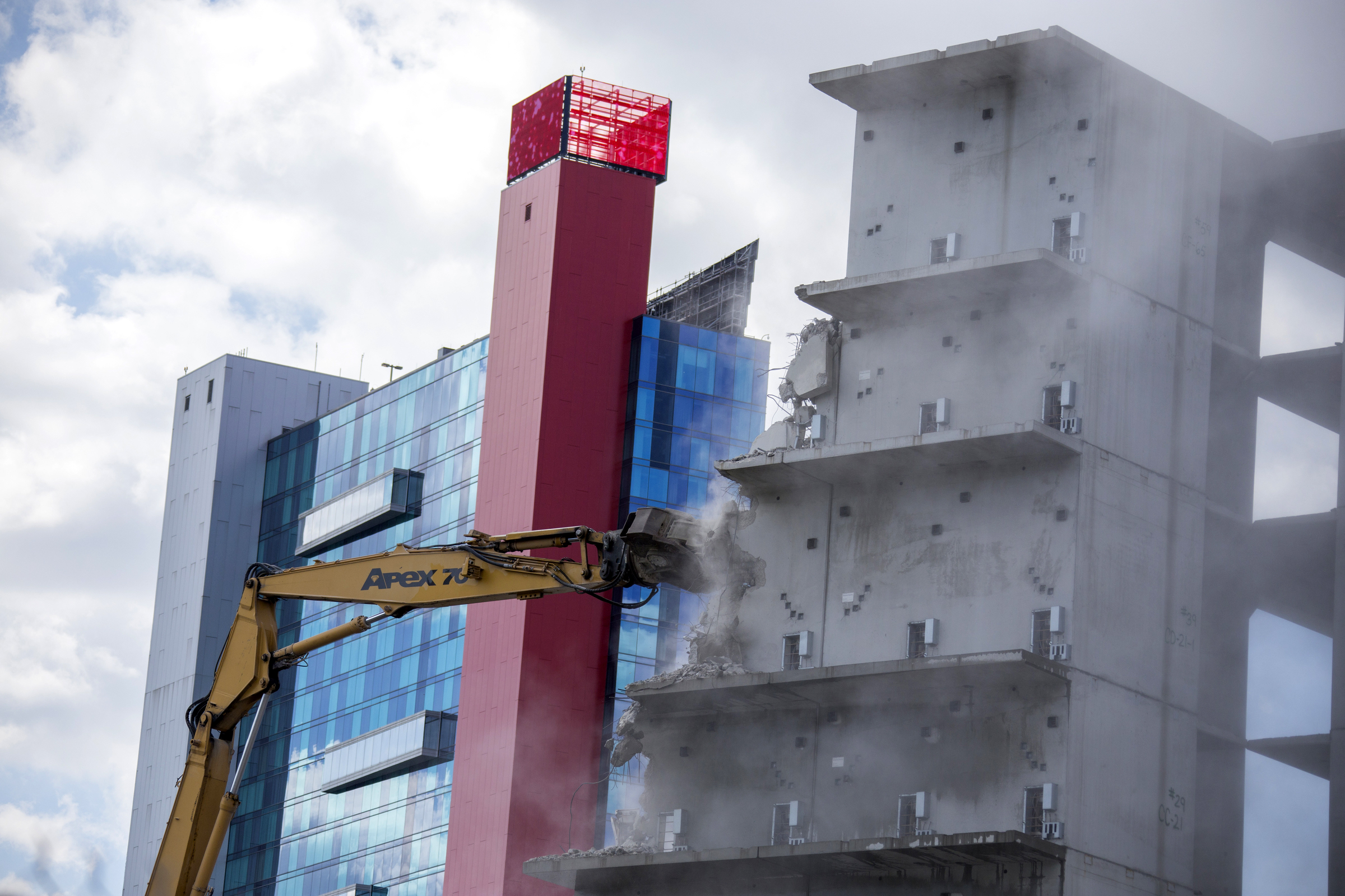 In the shadows of the Greektown Casino Hotel, demolition began on the failed Wayne County Jail project in 2018. After millions of dollars were poured into the project, construction was halted due to cost overruns. The property was later sold to a private business concern led by billionaire Dan Gilbert.  Courtesy of the Detroit Free Press.