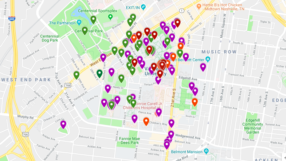 [Image description: Screenshot of a map of Vanderbilt University's campus with colorful pins dropped to indicate specific locations. Green pins indicate where students feel cared for, purple pins indicate where students feel well, orange pins indicate where students feel unwell, and red pins indicate where students do not feel cared for. Some pins are densely congregated in one area of campus while others are spread across.]