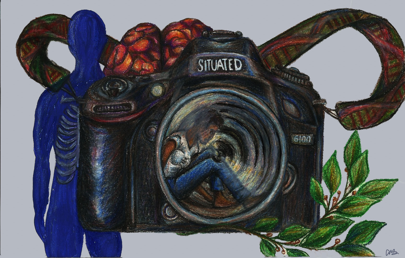 "Image description: This drawing of a camera shows a person sitting down in the curvature of the lens. Around the camera winds a strap printed with a DNA double helix pattern and a green branch with small red berries. Also behind the camera are a brain and a blue x-ray of a body. On the camera body is the word ""Situated.""  Artist credit: Alexandra Bronson"