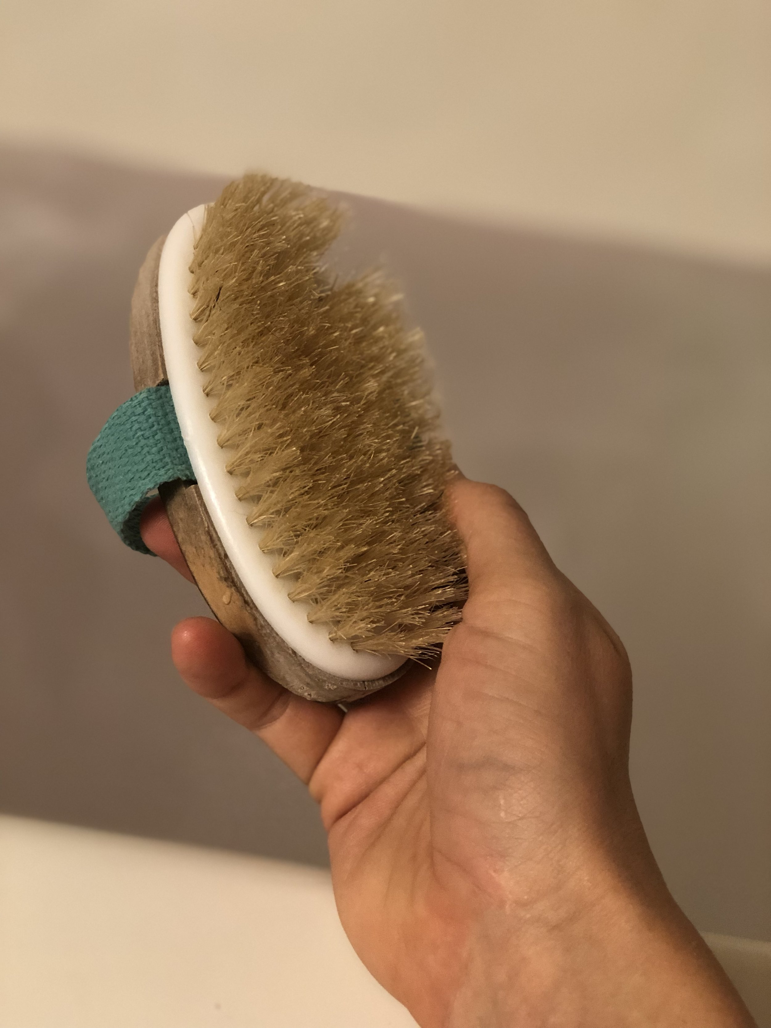 first it starts with a dry brush - where you ask? EVERYWHERE. ALL OVER. especially your knees, elbows and that spot right below your buns where your leg starts!