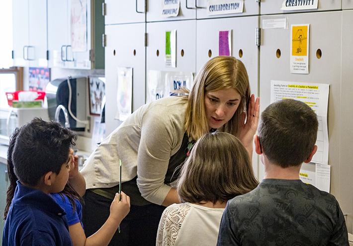 Camille Jones, 2017 Washington State Teacher of the Year. Teaching students, listening.