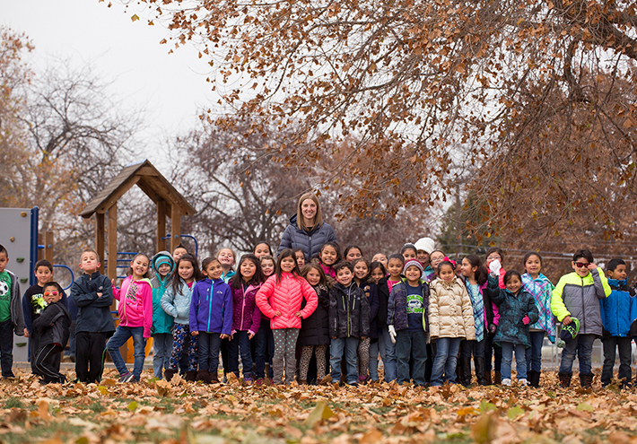 Camille Jones, 2017 Washington State Teacher of the Year. With her students outside on a day in the fall.