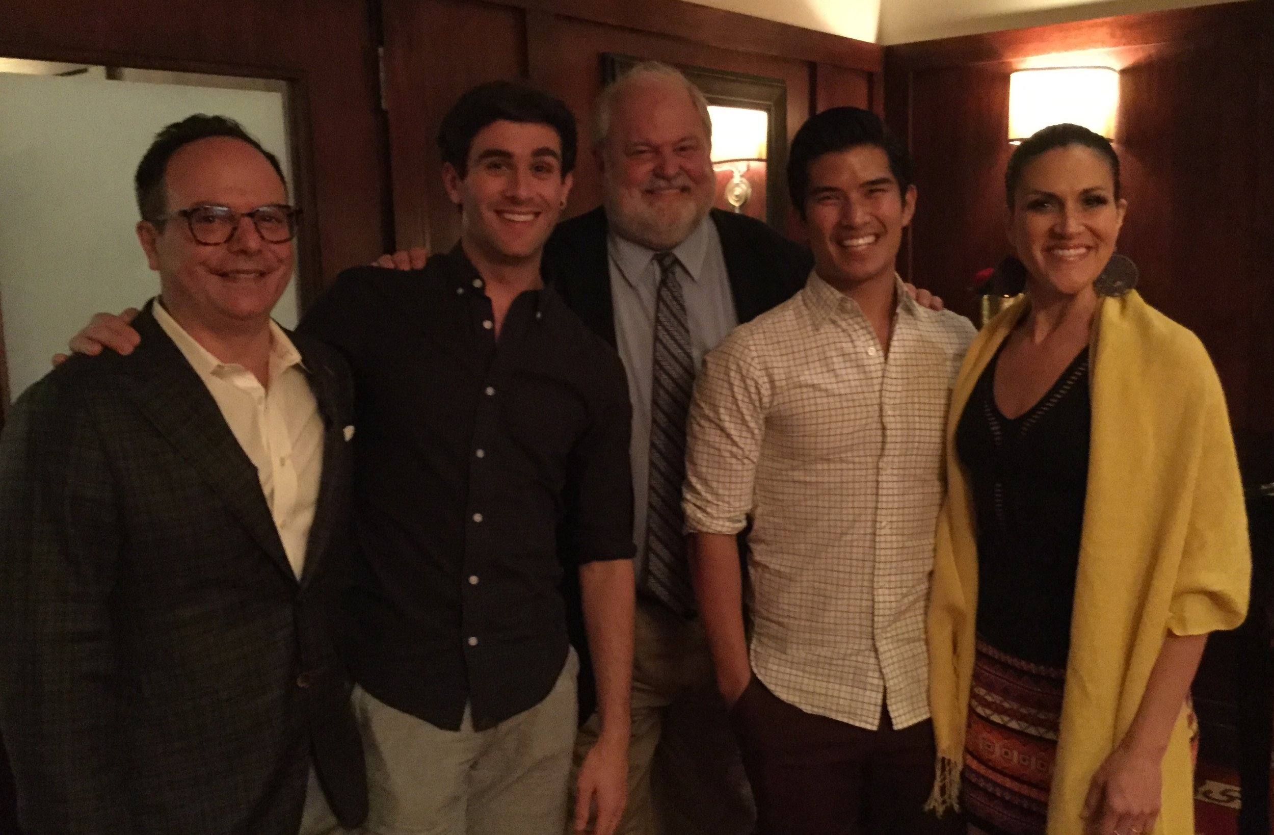 Vice President Marc Kaufman, Sam Lips, President Marty Balogh, Chris Vo and Aléna Watters join the cast for talkback at Petterino's before the show.